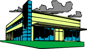 Clip art image of an industrial manufacturing facility
