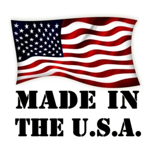 American flag with text beneath that says Made in the USA